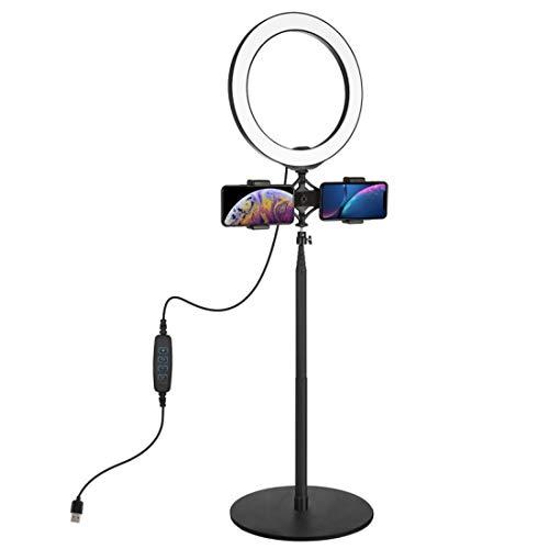 Leic Selfie Fill Light Luz de anillo LED ajustable de 10.2 pulgadas con doble soporte para teléfono móvil y soporte de escritorio de 140.7cm para Live Stream Tik Tok Video Makeup Vlog Photography