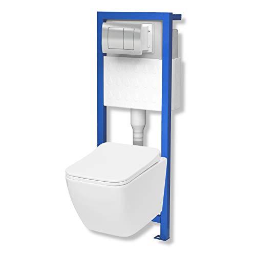 Domino Lavita Vorwandelement inkl. Drückerplatte chrom + Wand WC Lino ohne Spülrand + WC-Sitz mit Soft-Close-Absenkautomatik