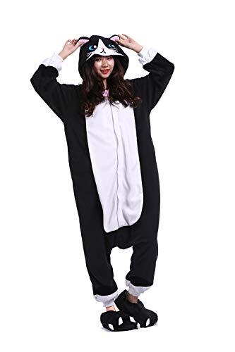 Tiere Onesie Karneval Kostüm Damen Jumpsuit Pyjama Schlafanzug Weihnachten Halloween Overall Nachtwäsche Faschingskostüme Herren Schwarz Katz