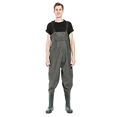 SurePromise 100% Waterproof PVC Chest Waders Fly Coarse Sea Fishing Breathable UK Size 8 9 10 by Surepromise