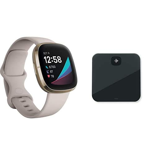 Fitbit Sense - Smartwatch avanzado de Salud con Herramientas avanzadas de la Salud del corazón, gestión del estrés y Tendencias de Temperatura cutánea + Fitbit Aria Air Scales Black, Unisex-Adult