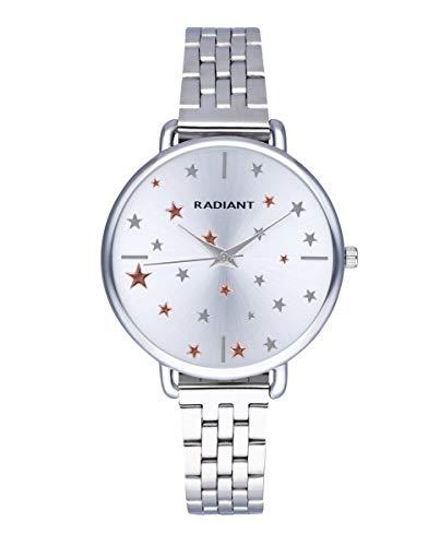 Reloj analógico para Mujer de Radiant. Colección Saint Laurent. Reloj Plateado con Brazalete y Esfera Blanca con pedrería y Estrellas. 3ATM. 38mm. Referencia RA544203.