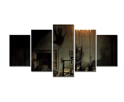 Art Mural D'horreur, Spooky Shallow De Personnes à L'intérieur De La Chambre Avec Cheminée Et Fauteuil Imprimer Des Affiches Sur Toile Peinture Salon Décoration Home Decor Peinture à L'huile, 5 Pièces