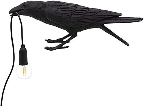 Creative Crow Lámpara de mesa Lucky Bird Lámpara de escritorio Lámpara de mesa nórdica para sala de estar y dormitorio Para lámpara de pared de animales moderna-Lámpara de asiento negra