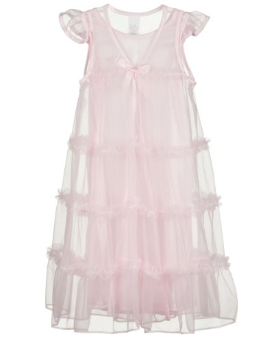 Laura Dare Little Girls Pink Princess Peignoir Nightgown and Robe Set, 4T