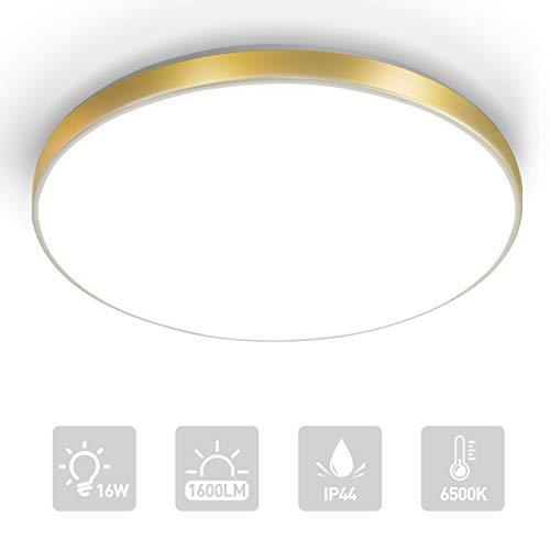 LKESBO 16W LED Deckenleuchte Deckenlampe für Wohnzimmer Schlafzimmer 1800LM 6500K Küchenlampe Rund Deckenbeleuchtung Badezimmer IP44 Badlampe Gold