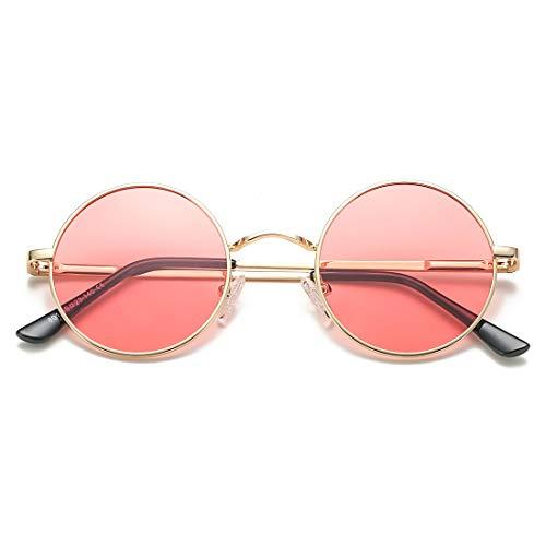 COASION Retro Small Round Polarized Sunglasses John Lennon Style Circle UV400 Sun Glasses (Gold...