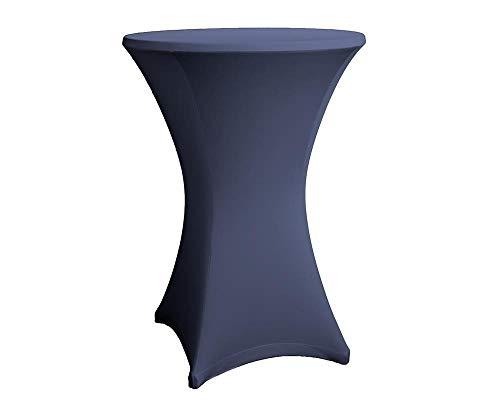 Expand Housse pour Tables Hautes Bleu Marine - Couverture, Revêtement, Nappe pour Tables Mange-Debout - Ø 70cm-75cm - Stretch