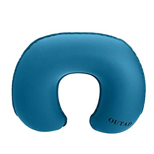 Sylvialuca OUTAD Oreiller Gonflable concave en Forme de Cou à Conception Ergonomique TPU Ergonomique en Forme de U pour Les Voyages en Camping en extérieur - Bleu