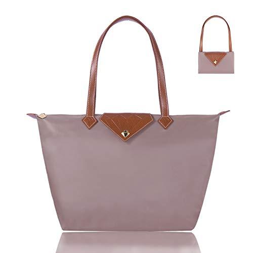 BOJLY Bolsos Totes para Mujer, Bolsos para las mujeres Diamante Nylon Tote Bag Ladies Shopping Plegable Tote Bolsa de viaje de playa Impermeable Casual Rosado Grande
