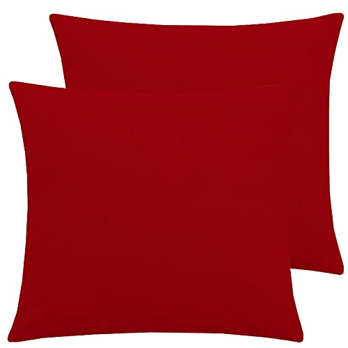 Brit Linen T144 Kissenbezug, einfarbig, für Büro, Sofa, 40 x 40 cm, Rot, 2 Stück