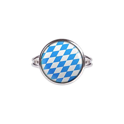 Mylery Ring mit Motiv Bayern Oktober-Fest Blau Weiß Rauten Silber 14mm
