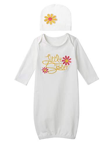 iEFiEL Baby Mädchen Schlafsack Neugeborene Langarm Schlafkleid Baumwolle Blumendruck Little Sister Nachthemd mit Hut Outfit Set Rose Rosa 50-56