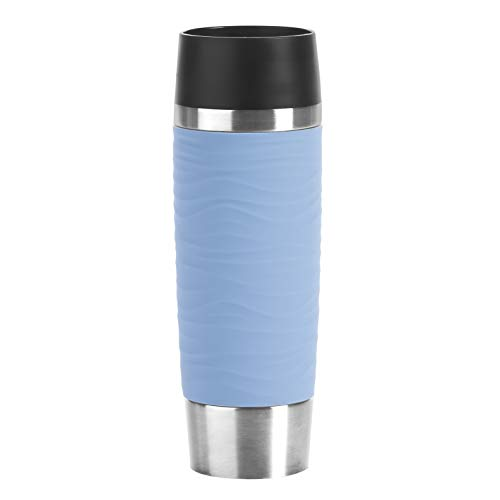 Emsa N20121 Travel Mug Wave-Design Thermobecher/Isolierbecher (500 ml, hält 6h heiß/ 12h kalt, 100% dicht, auslaufsicher, Easy Quick-Press-Verschluss, 360°-Trinköffnung) puderblau
