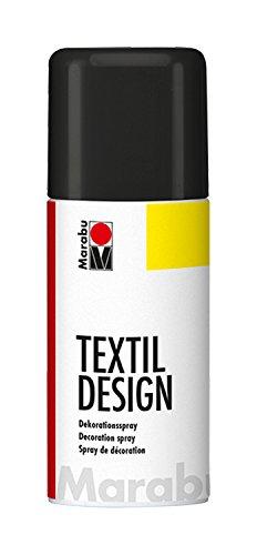 Marabu 17240006073 - Textil Design schwarz, Dekorationsspray auf Acrylbasis, schnell trocknend, wetterfest, lichtecht, bedingt waschbeständig, zum kreativen Gestalten auf Stoff, 150 ml Sprühdose