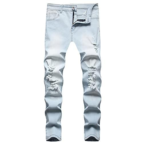 2021 Nuevo Pantalones vaqueros para Hombre,Pantalones Casuales Moda Jeans rotos trend largo Pantalones Pants Skinny Pantalon Fitness Jeans Cómodo Largos Pantalones Ropa de hombre