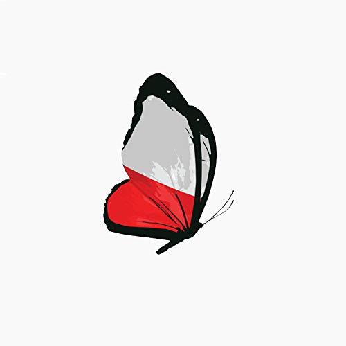 Poland Flag Butterfly Interest Reflective Car Sticker Waterproof Creative Cartoon Decals Decoration Accessories,4inch (reflective)