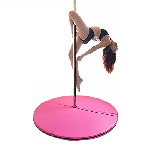 Pole Dancing Crash Mat, Folding Round Dance Padded Mat, Stripper Beginner Thickened Protection Mat, Gymnastic Mat Safety Crash Mat, 120Cm in Diameter (47 Inches),Pink,120cm*10cm