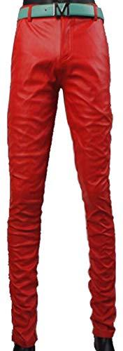 Adelina Herren Faux Lederhose Lederjeans Skinny Slim Jungen Tube Mitte Jeans Taille Leather Pants Trousers Hosen (Color : Ts003De Rot, Size : 30)