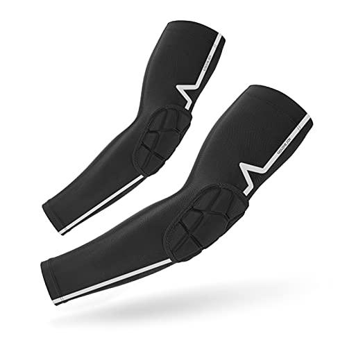 Lixada 1 Paar Ellbogenschützer Kompressions-Ellbogenärmel, Anti-Rutsch atmungsaktive Ellenbogenschützer, für Volleyball Torhüter Hockey Snowboard Radfahren Laufen, Schwarz M-XL