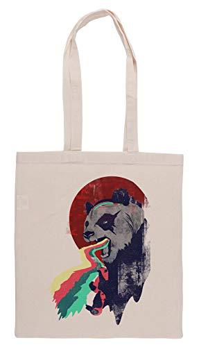 Luxogo Wütend Regenbogen Panda Einkaufstasche Groceries Beige Shopping Bag