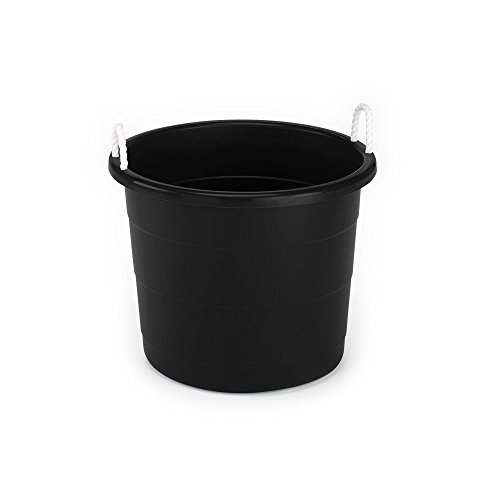 HOMZ Plastic Utlity Rope Handle Tub, 17 Gallon (Standard), Black, 2 Count