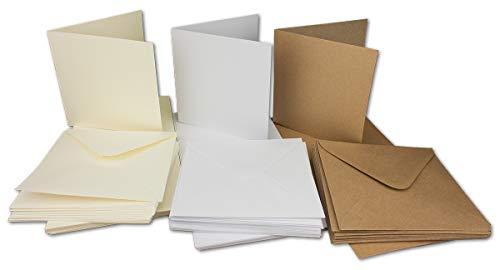 30 Falt-Karten Sets - Quadratisch - 240 g/m² 220 g/m² - Weiss - Creme - Kraft - mit Brief-Umschlägen - 120 g/m² 90 g/m² Nassklebung - 60 Teile