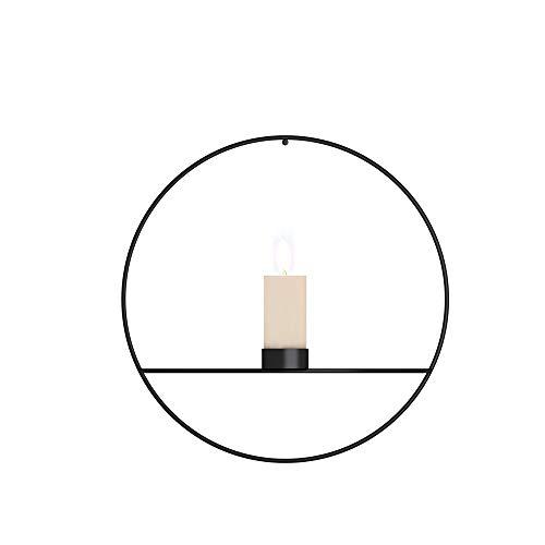 BONMW Candelabro 3D Geométrico Estilo Moderno Metal Luz De Té Candelero para Colgar Adornos De Pared Fiestas Eventos Decoraciones para El Hogar Regalos (Black-b)