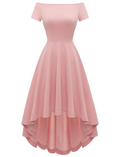 Gardenwed Damen Elegante Abendkleider Cocktailkleider Damenkleider Brautjungfernkleider aus Spitzen Knielange Rockabilly Ballkleid Blush XS