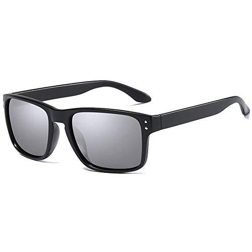 QCSMegy Gafas de sol para hombre, de moda, polarizadas y coloridas, material de policarbonato, color azul, gris, verde, hombres y mujeres con las mismas gafas de sol de conducción (color: gris)