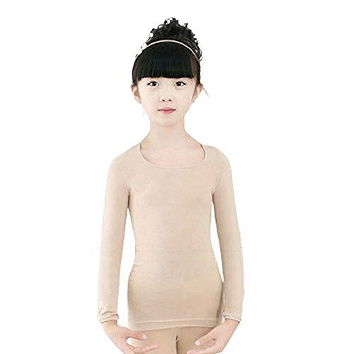 BOZEVON Mädchen Thermounterwäsche Oberteile - Kinder Ballett Wickeljacke Gymnastik Tanz Ballettjacke Lange Ärmel T Shirt für Mädchen Damen, Teint (Oberteile)/Large