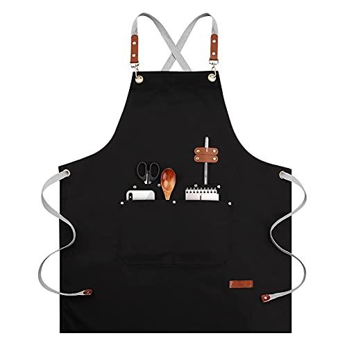 Delantal de chef para mujer y hombre, con espalda cruzada, ajustable, para cocina con bolsillo (negro)