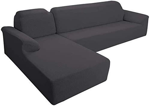 E EBETA Funda Elástica para Sofá Chaise Longue, Chaise Longue Jacquard Funda de sofá para Juego de 2 en Forma de L para 2 plazas + sofá de Esquina de 2 plazas Izquierda (Gris Oscuro, 2 plazas)