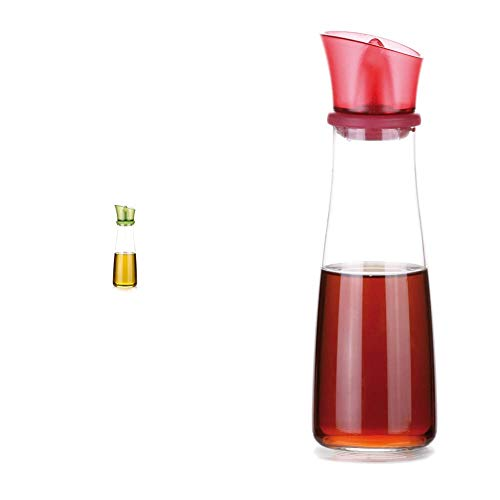 Tescoma 642772 Vitamino Oliera, Vetro, Verde, 250 ml, 1 Pezzo & 642774 Vitamino Acetiera, Vetro, Rosso, 250 ml, 1 Pezzo