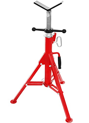 """SENDUO Pipe Stand V-Head 28""""-52"""" Adjustable Height,2500 lbs. Capacity, Pipe Jack Stand with Folding Legs"""