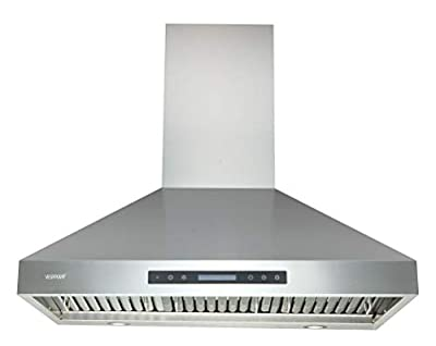 """Range Hoods 36 Inch - EKON Wall Mount Range Hood Stainless Steel 900 CFM, Island Range Hood Touch Panel Control With Remote And LCD Display / 4 Pcs 3W Led Lamp/Dishwasher Baffle Filters(NAP04-36"""")"""