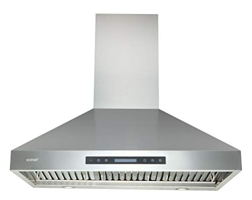 Range Hoods 36 Inch - EKON Wall Mount Range Hood Stainless Steel 900 CFM, Island Range Hood Touch Panel Control With Remote And LCD Display / 4 Pcs 3W Led Lamp/Dishwasher Baffle Filters(NAP04-36')