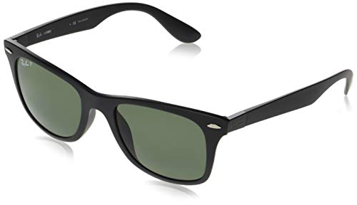 Ray-Ban Rb4195F Wayfarer Liteforce asiáticos Fit, gafas de sol, Mate Negro/Verde polarizado