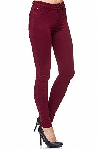 Elara Elara Damen Stretch Hose Skinny Fit Jegging Chunkyrayan H23 Wine 34 (XS)