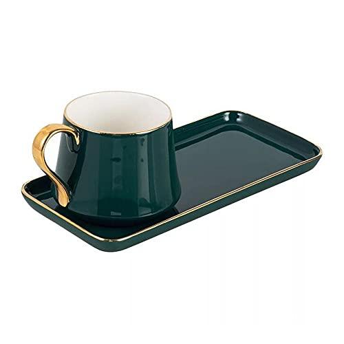 SXXYTCWL Taza de café Copa de Agua Copa de Agua Placa de Postre Desayuno Taza de Leche Taza de té Taza de té Set Par de la Taza de Pareja Regalo para los Amantes del café (Color : Verde)