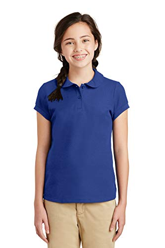 Port Authority Girls Silk Touch Peter Pan Collar Polo, Royal, Large