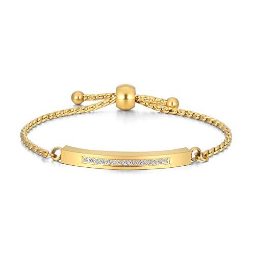 JSDDE Schmuck, Personalisiert Gravur Strasssteine Armreif einstellbar Locket Medaillon Armband Asche Haare Nagel Memorial Armkette für Damen Frauen Mädchen Geschenk (Gold mit Gravur)