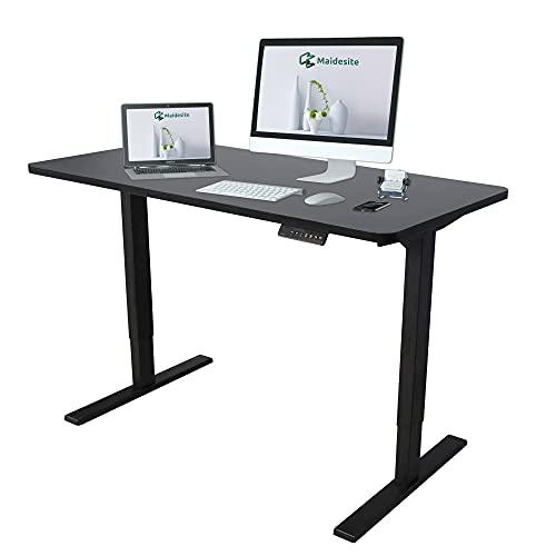 MAIDeSITe Escritorio eléctrico de pie, altura ajustable en casa, oficina, estación de trabajo con 4 botones de control de memoria, mesa de escritura de 120 cm x 60 cm, color negro