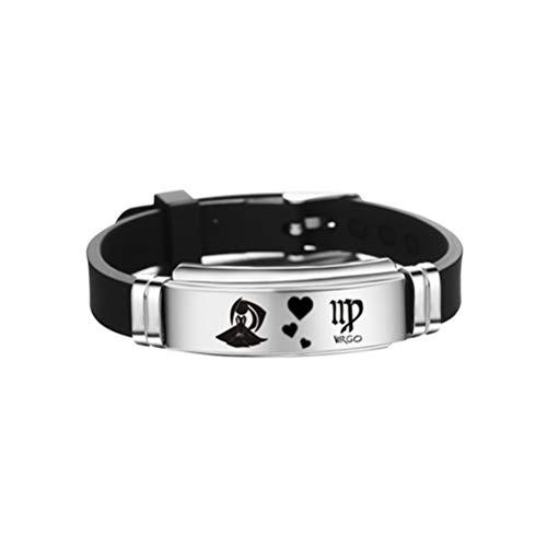 Fenical Jungfrau Konstellationen Sternzeichen Armband einstellbare Edelstahl Silikon Armreif Geburtstag Schmuck Geschenk