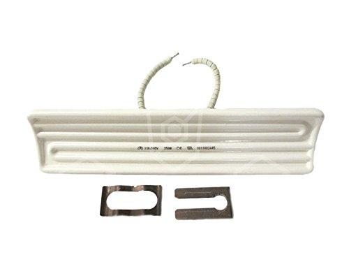 Stahl Keramikstrahler mit Kabel aus geperlte Litze Länge 245mm 250W 230V Höhe 35mm Breite 60mm Isolierung Kabel geperlte Litze