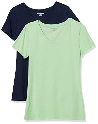 Amazon Essentials Women's 2-Pack Classic-Fit Short-Sleeve V-Neck T-Shirt, Bright Mint/Navy, Large