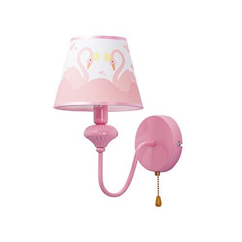 lrhy Kinderzimmer Wandlampe Mit 5W LED Weißes Licht Mit Pull-Schalter Bett Kopf Warm Spiegel Scheinwerfer Einfache Moderne Wand Lampe Rosa Mädchen Kinder Beleuchtung Ideen