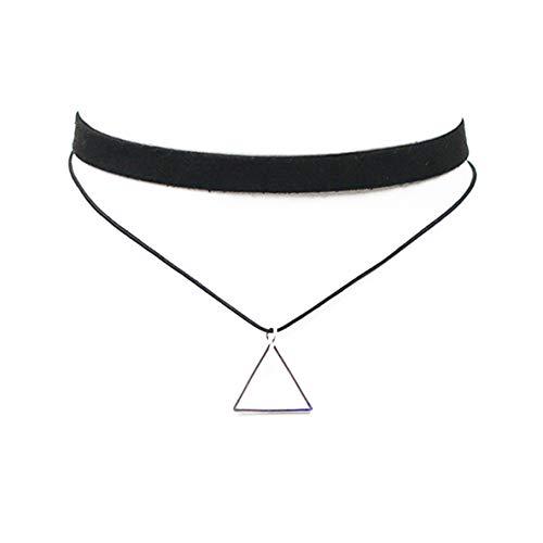 ALOHAMONI (アロハモニ) トライアングル チョーカー ネックレス 三角 モチーフ チャーム レザー ベロア 2連 二連 並行 デザイン リング 首輪 革 ひも 長さ30-37cm 調整可能 ブラックxゴールド ブラックxシルバー (シルバー)