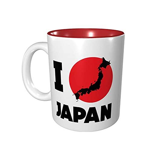 Hdadwy Taza de café divertida de 11 onzas Amo Japón Taza Taza de té Taza de té Apto para microondas Rojo