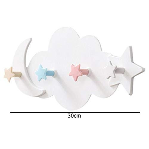 Heng schattige maan ster wolkvormige haken plastic handdoek kleerhanger muur decoratieve tool slaapkamer hanger, b